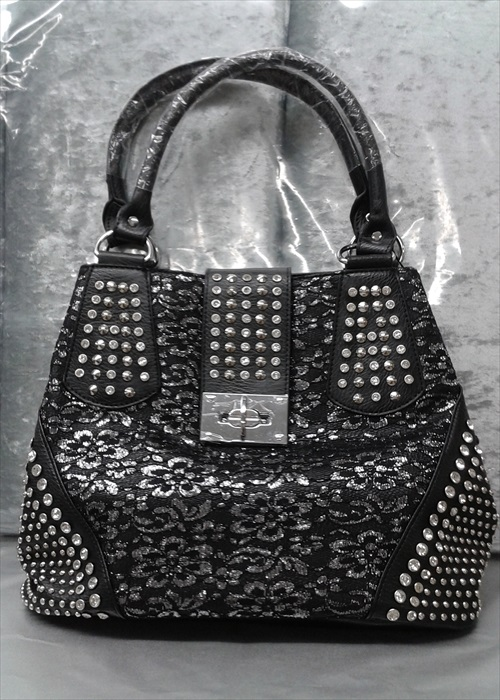 Bling Rinestone Accent Studded Tote Handbag