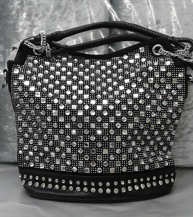 Bling Rinestone Pattern Tall Tote Handbag
