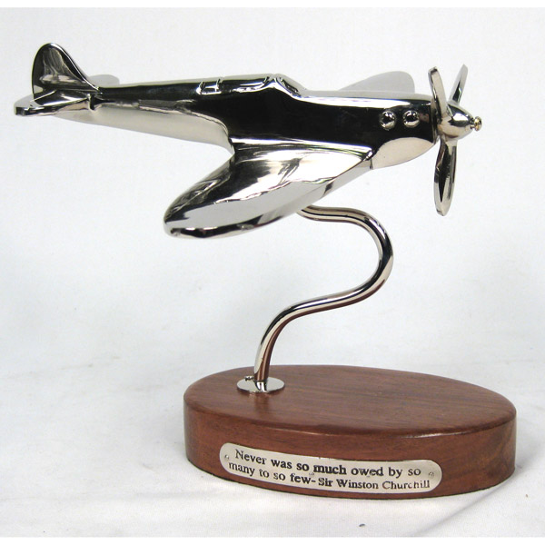 POLISHED ALUMINIUM SPITFIRE ON STAND