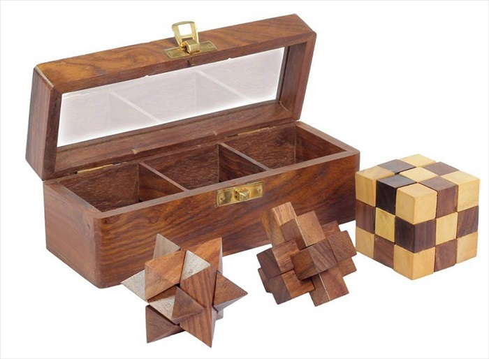 3 Puzzle Set In Sheesham Box