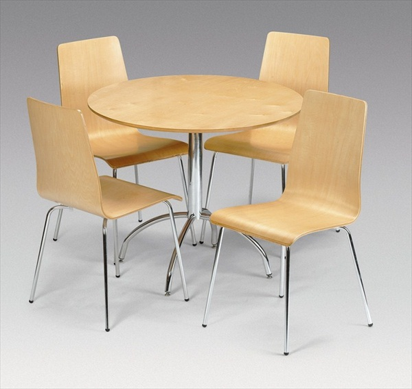 MANDY MAPLE VENEER ROUND TABLE & 4 CHAIRS