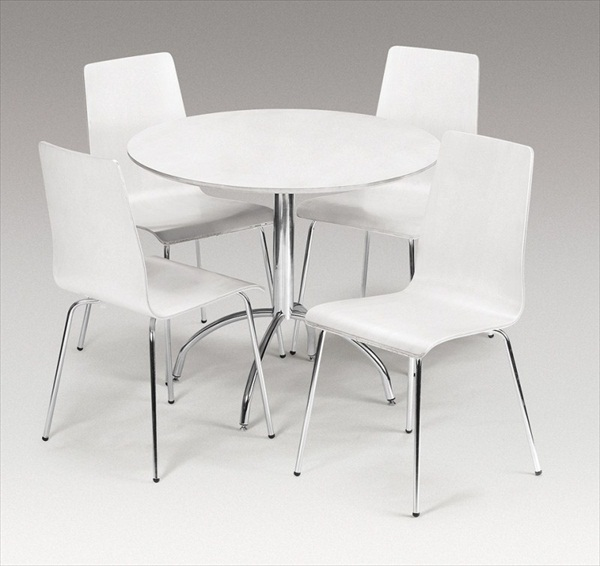 MANDY WHITE 90CM ROUND TABLE & 4 CHAIRS