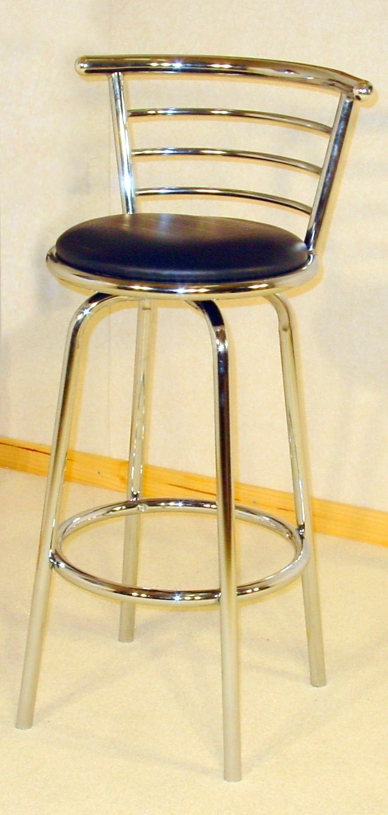 Wide Back Chrome Swivel Stool
