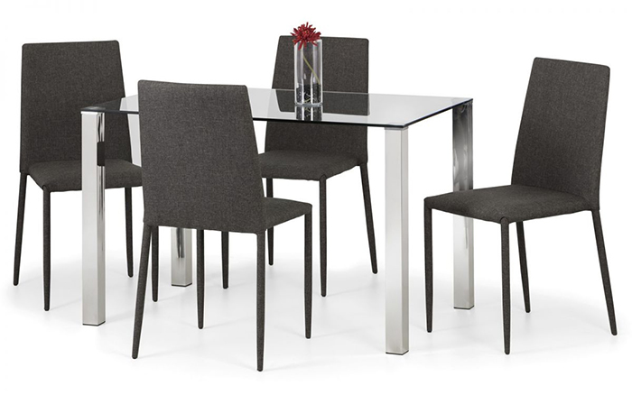 Enzo & Jazz Grey Dining Set (4 Chairs)