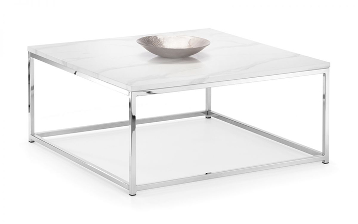 Scala White Marble Top Square Coffee Table