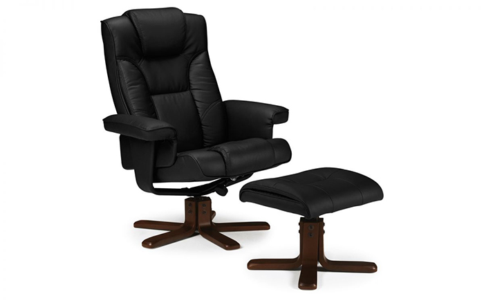 Malmo Recliner & Footstool Black