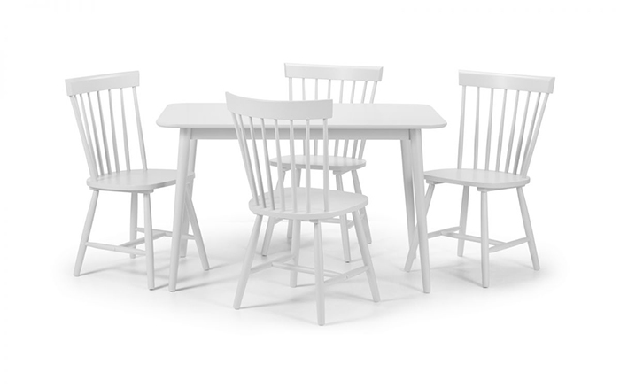 Torino White Dining Set (4 Chairs)