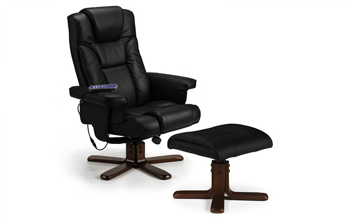 Malmo Massage Recliner & Stool Black