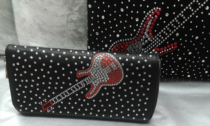 Rhinestone Guitar Accordion Wallet
