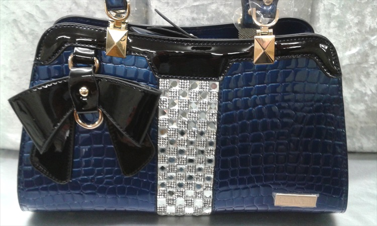 Bling Embossed Blue Patent Handbag - Click Image to Close