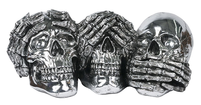 3 Skull Hear, See, Speak No Evil Skulls