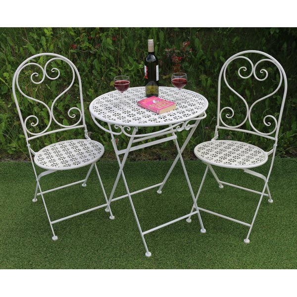 White Metal Flower Pattern Table & 2 Chairs