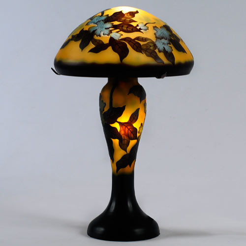 LARGE GALLE STYLE TIFFANY MUSHROOM DESIGN TABLE LAMP