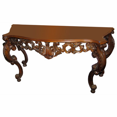 QUALITY MAHOGANY HAND CARVED CONSOLE TABLE