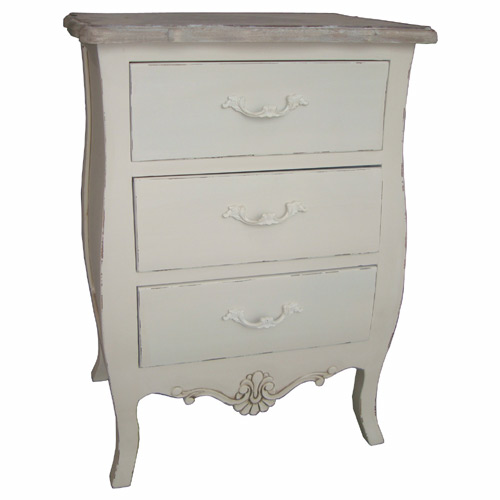 CREAM LORIE 3 DRAWER NARROW CHEST