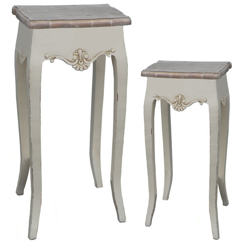 CREAM LOIRE SET OF 2 PLANT STANDS