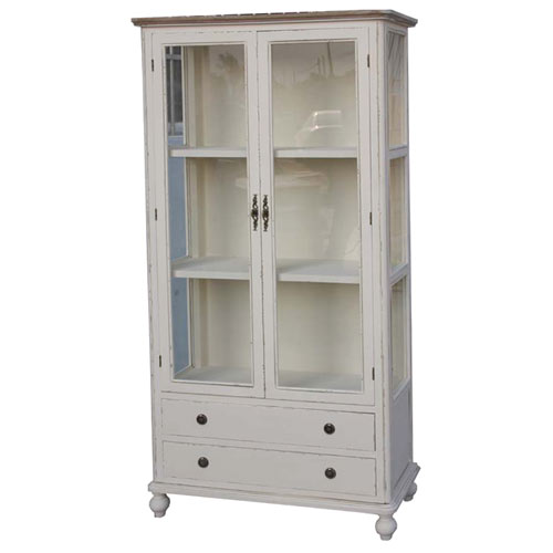 French Country Style Distressed Glazed 2 Bookcase