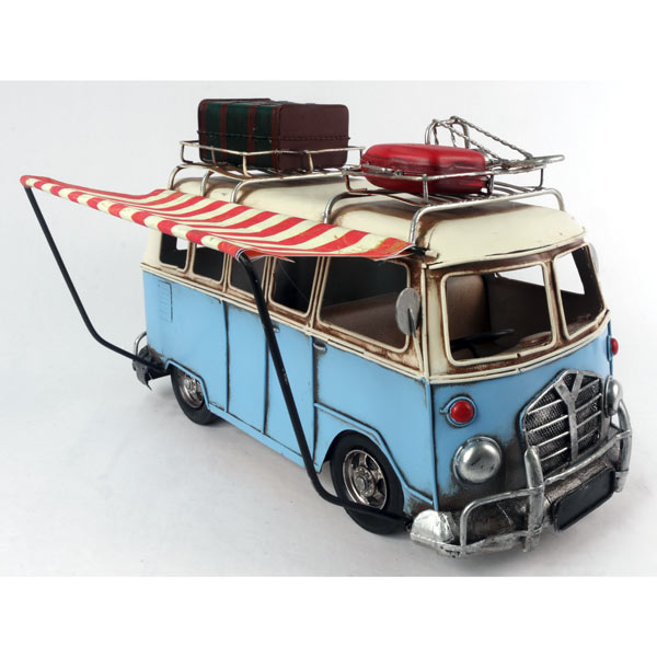 "Blue VW Camper Van With Canpony ""Repro Tin Plate"""