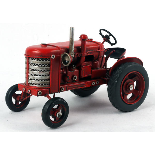 Small Repro Tin Plate Old Red Tractor