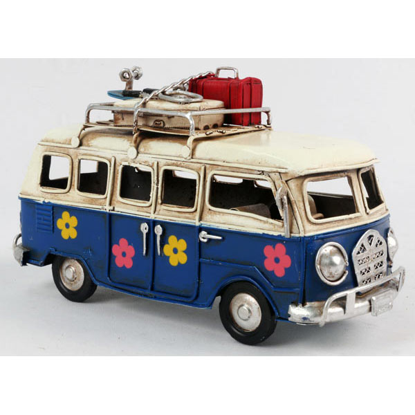 Small Repro Tin Plate Blue Camper Van With Flowers