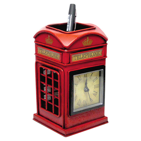 Telephone Tin Plate Pen Holder With Clock