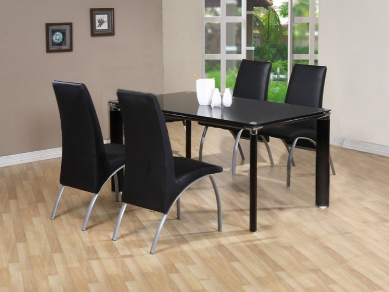 Devon Glass Top Table & 4 Chairs