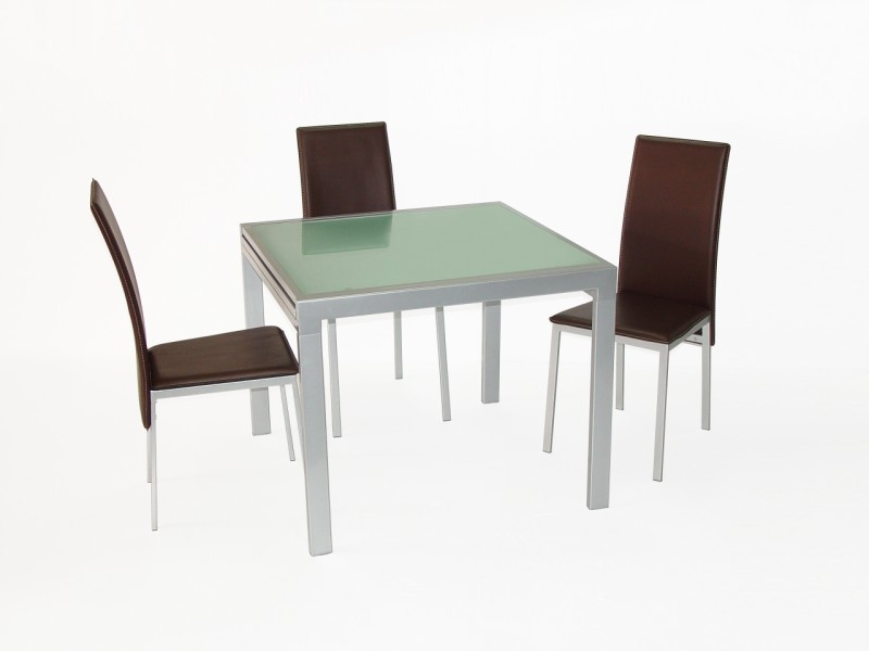 Siamese Extending Glass Top Table & 4 Chairs