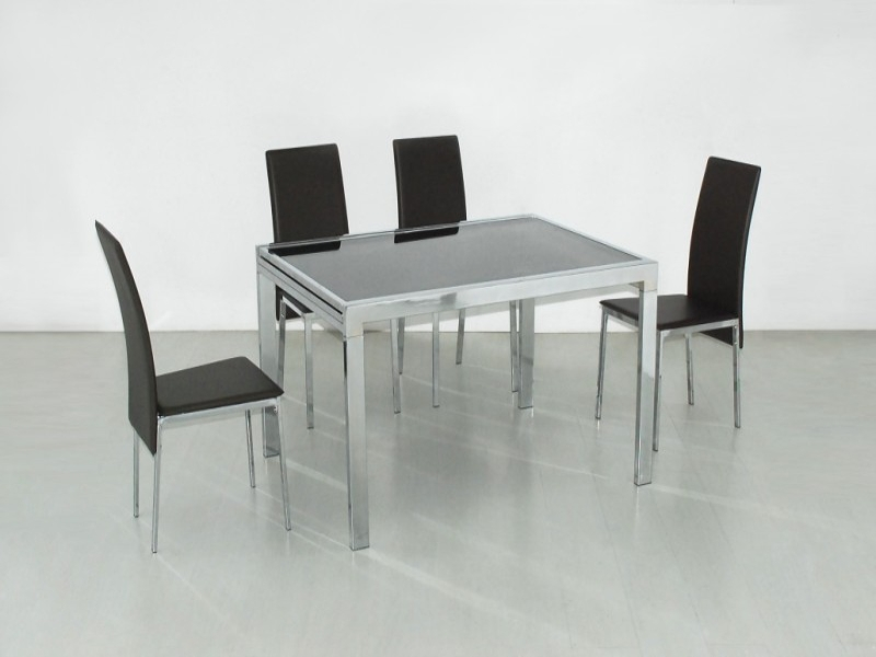 Siamese Extending Glass Top Table & 6 Chairs
