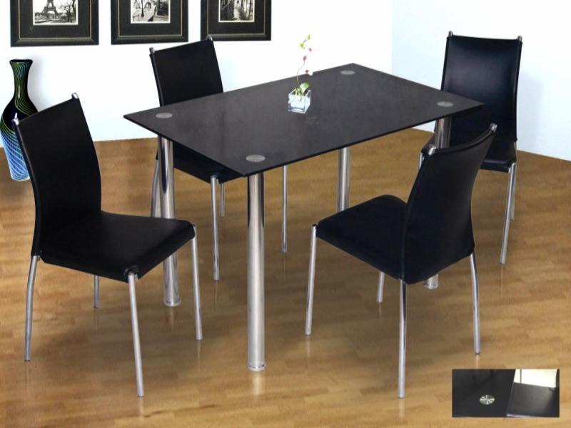 Cairo Black Glass Top Table & 4 Chairs