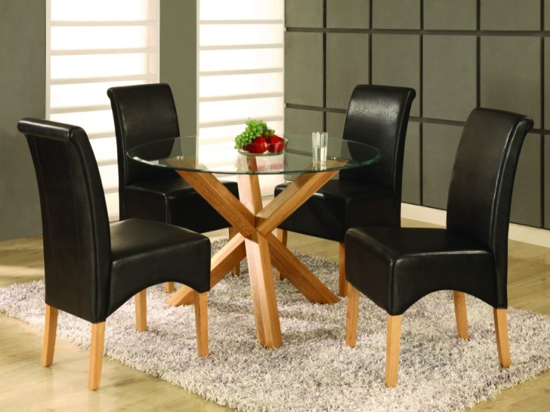 Saturn Glass Top Table & 4 Chairs
