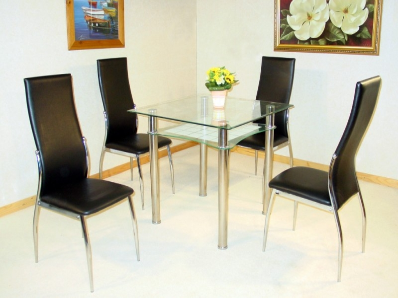 Jazo Glass Top Table & 4 Chairs