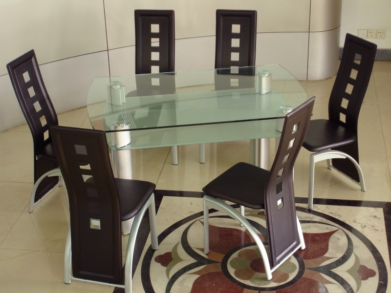 Phoenix Glass Top Table & 6 Chairs