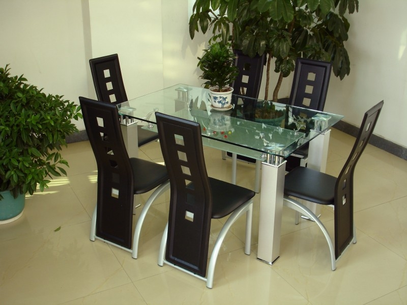 San Francisco Glass Top Table & 6 Chairs - Click Image to Close