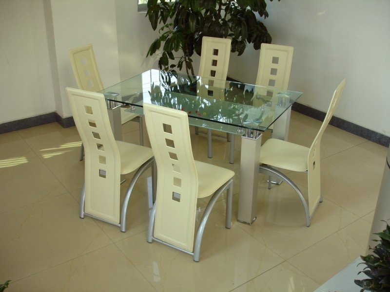 San Francisco Glass Top Table 6 Chairs Tbs Discount Furniture A Large Selection