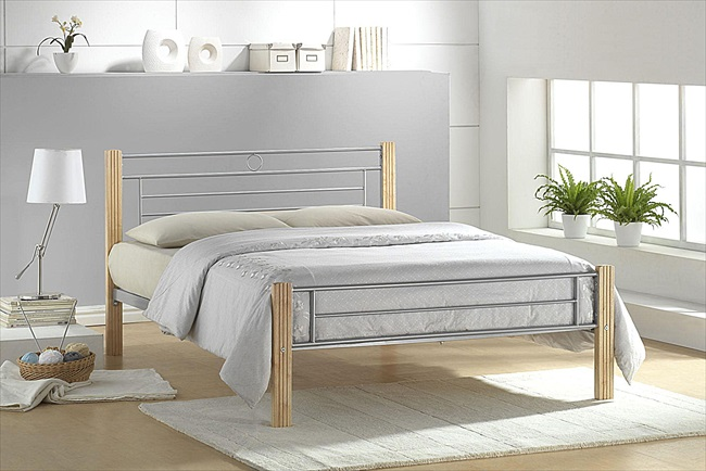 Amber Silver & Beech Finish Bedsteads From