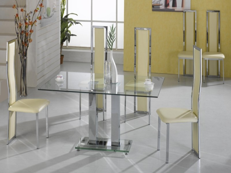 Ankara Glass Top Table & 6 Trinity Chairs