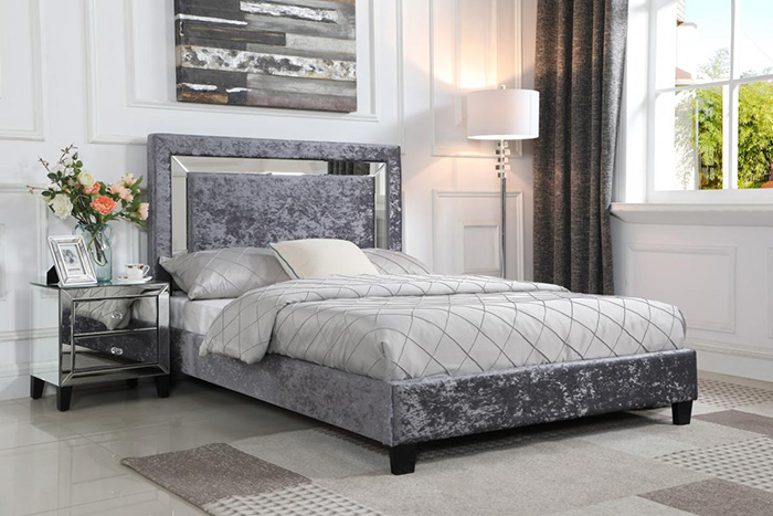 Augustina Crushed Velvet Bedsteads With Mirror Headboard From