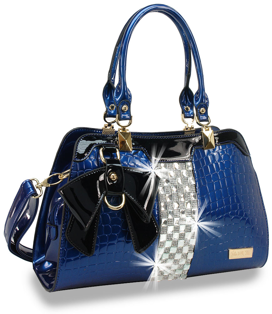 Bling Embossed Blue Patent Handbag