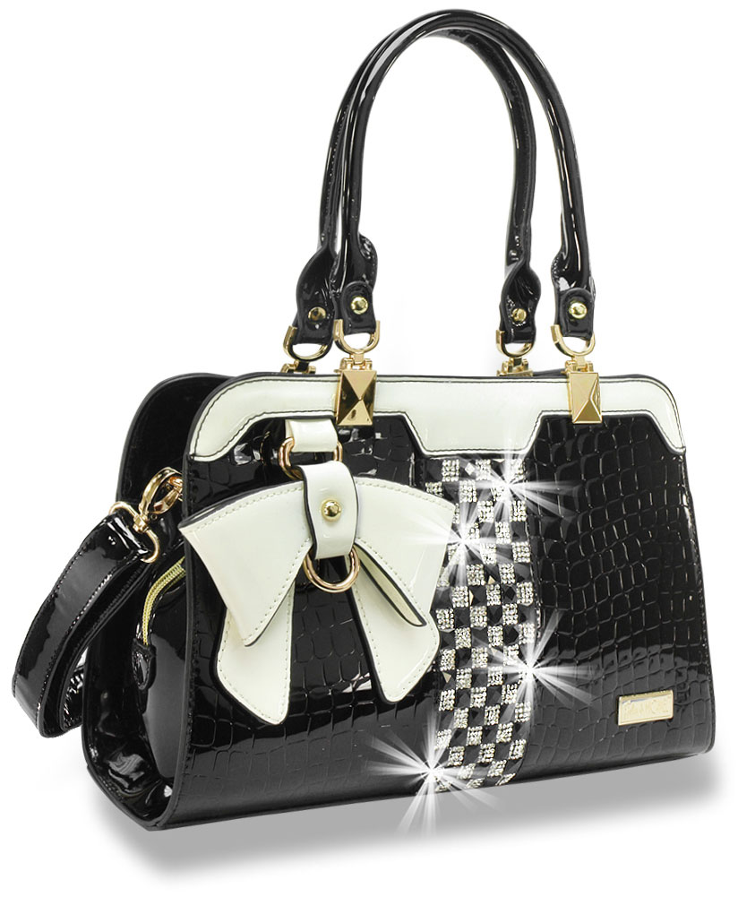 Bling Embossed Black/White Patent Handbag