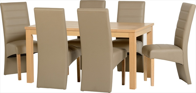 Belmont Oak Veneer Table & 6 Chairs