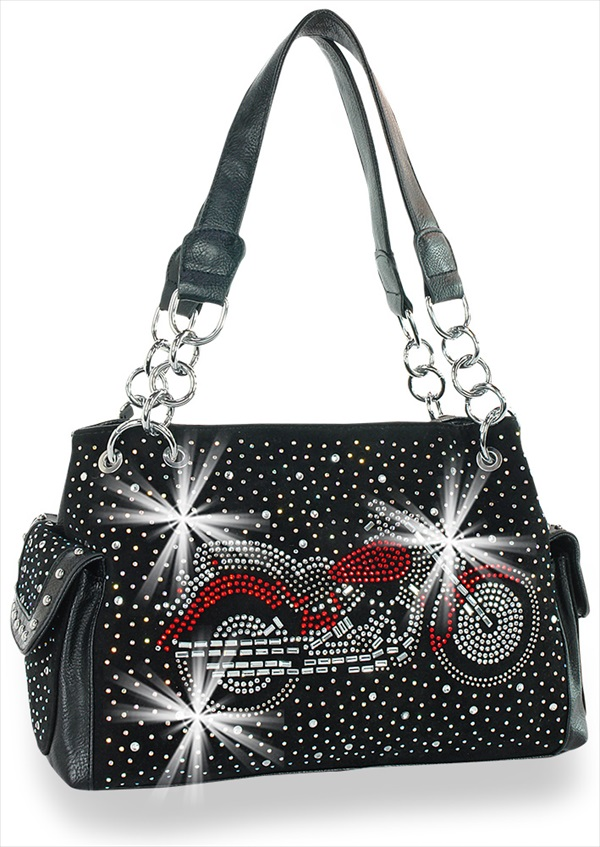 Motorcycle Design Rhinestone Handbag