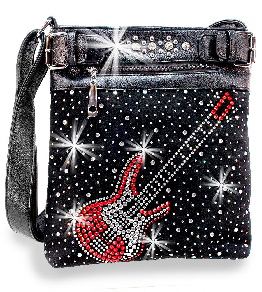 Rhinestone Electric Guitar Crossbody Handbag