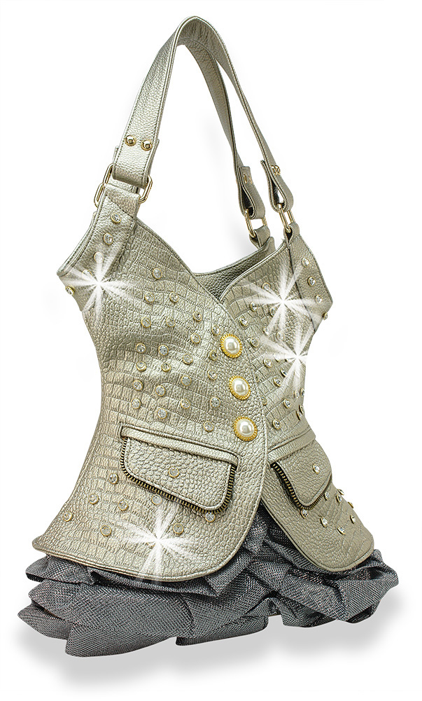 Bling Vest Design Tall Handbag Pewter