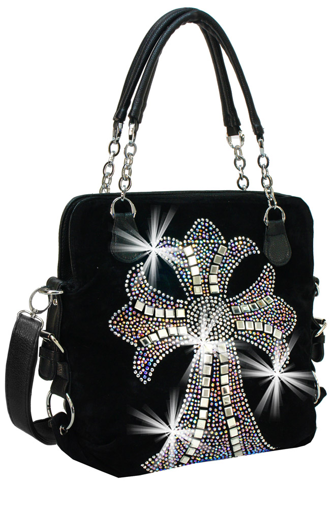 Cross Design Rhinestone Handbag