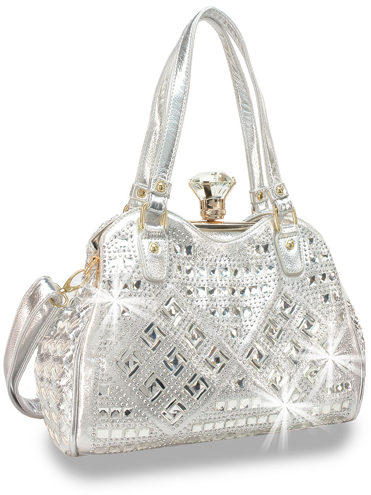 Bling Geometric Design Handbag Silver