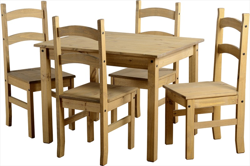 MEXICAN DISTRESSED WAXED PINE TABLE & 4 CHAIRS - Click Image to Close