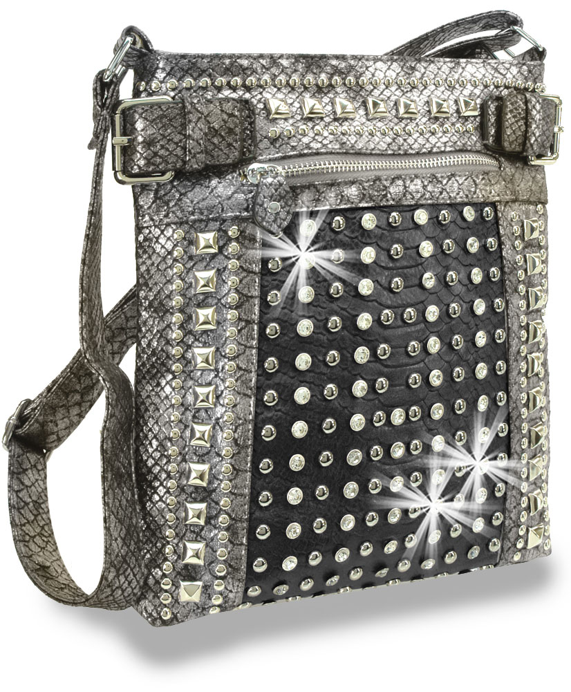 Metallic Studded Crossbody Pewter Handbag