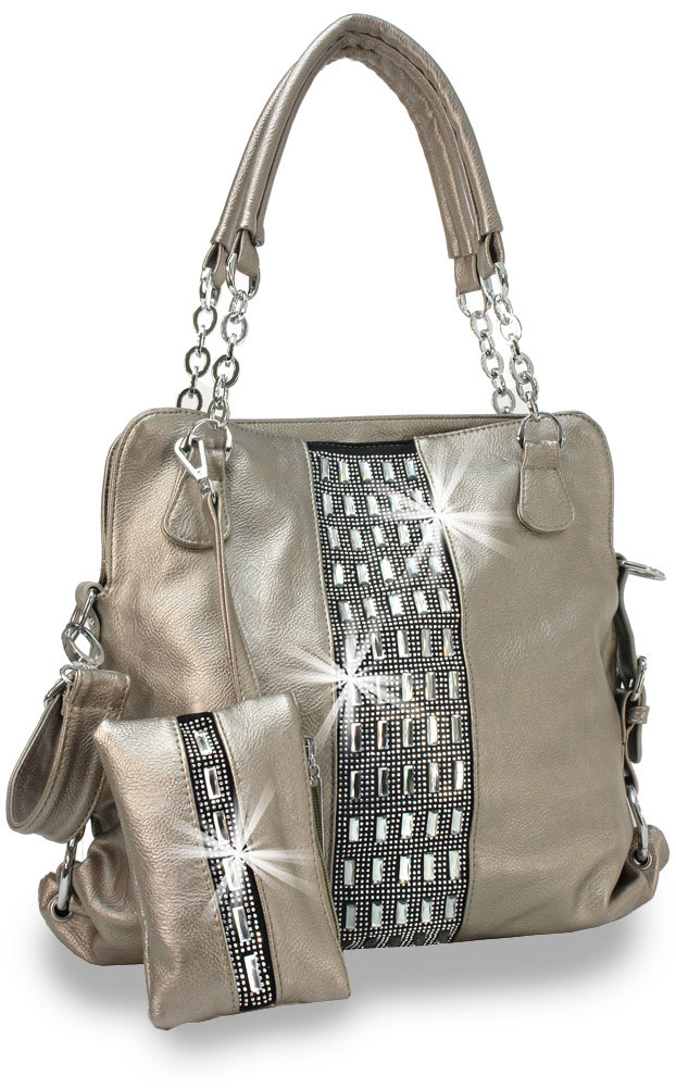 Gem Accented Tall Designer Handbag