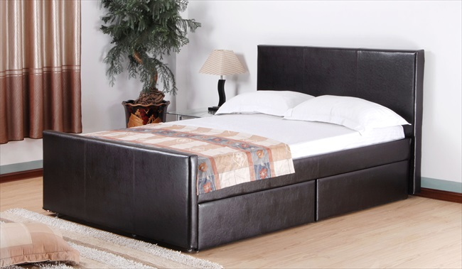 Brittanic Black or Brown pu 4 Drawer bed From