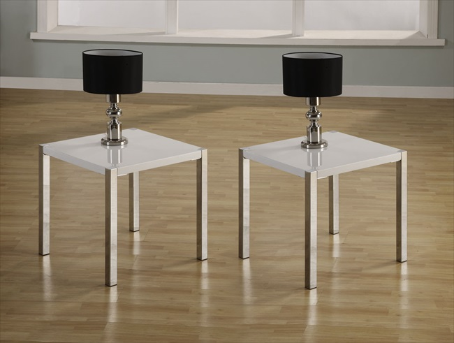 Charisma Black or White Gloss / Chrome Lamp Table
